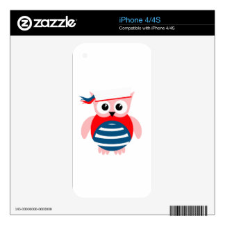 Red White Blue Nautical Owl iPhone 4 Decals