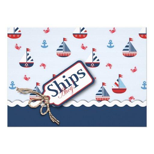 Red White Blue Nautical Ships Ahoy! Baby Shower 2 Custom Invite