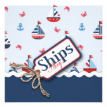 Red White Blue Nautical Ships Ahoy! Baby Shower S4 Personalized Announcement