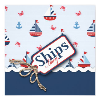 Red White Blue Nautical Ships Ahoy Baby Shower S4 Personalized Announcement