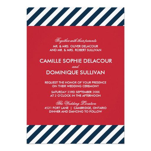 Red White Blue Nautical Stripes Wedding Invitation 5 X 7 Invitation Card