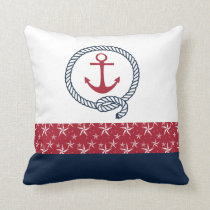 Red White Blue Nautical Throw Pillow with Anchor