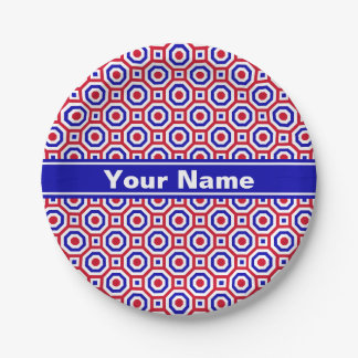 Red/White/Blue Nested Octagon Paper Plate 7 Inch Paper Plate