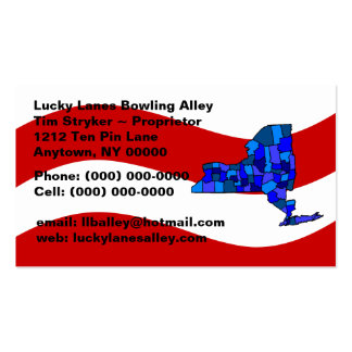 Red White & Blue New York Map State Business Card