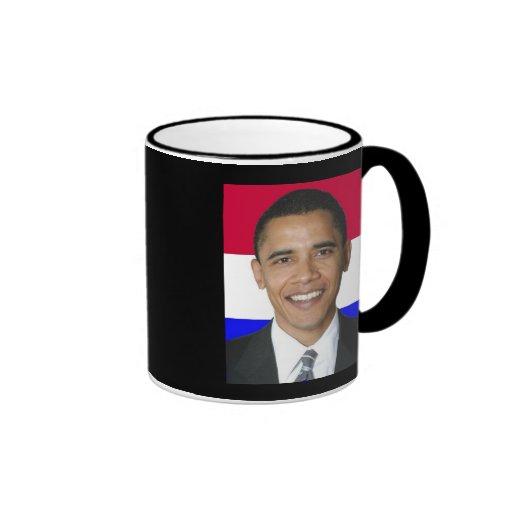 Red White Blue Obama, OBAMA '08, Black Ringer mug