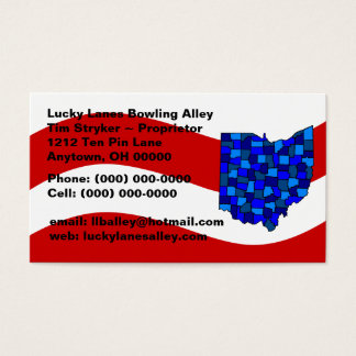 Red White & Blue OH Ohio Map State Business Card