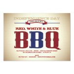 """Red, White & Blue Old Time July 4th BBQ Invitation 5"""" X 7"""" Invitation Card"""