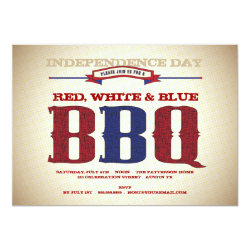 Red, White & Blue Old Time July 4th BBQ Invitation