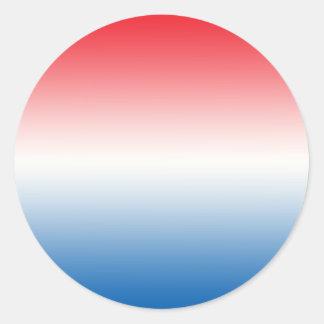 Red White & Blue Ombre Classic Round Sticker