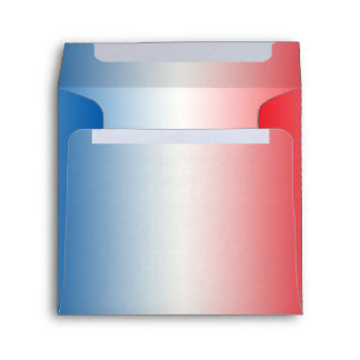 Red White & Blue Ombre Square Linen Envelopes