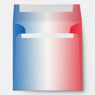 Red White & Blue Ombre Square Linen Envelopes