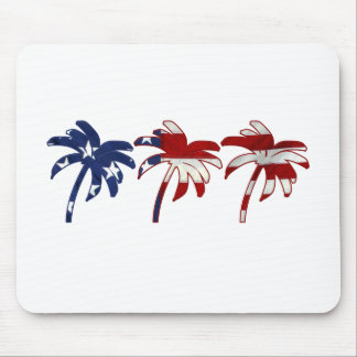 Red White Blue Palm Tree Mouse Pad