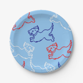 Red, White, & Blue Paper Plates - 4th of July 7 Inch Paper Plate
