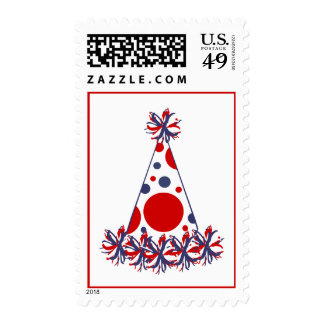Red White & Blue Party Hat Birthday Party Postage
