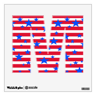 Red White & Blue Patriot Alphabet Letters July 4th Wall Skins