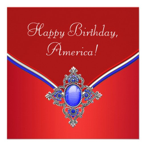 Red White Blue Patriotic 4th of July Party Custom Announcement