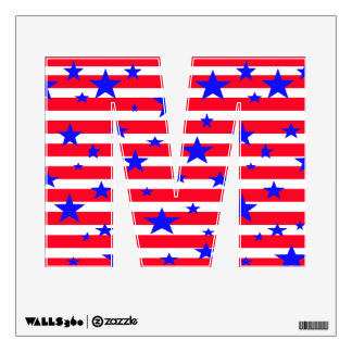 Red White Blue Patriotic Alphabet Letters July 4th Room Stickers