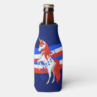 Red White Blue Patriotic American Unicorn Bottle Cooler