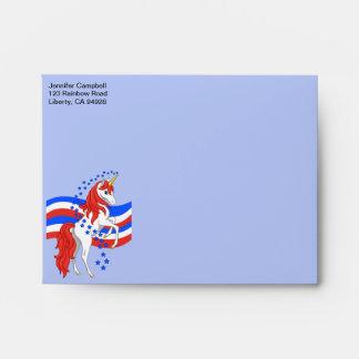 Red White Blue Patriotic American Unicorn Envelope