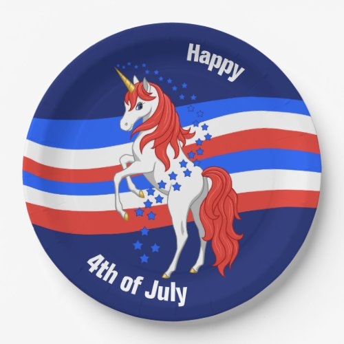 Red White Blue Patriotic American Unicorn Paper Plate