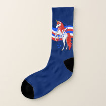 Red White Blue Patriotic American Unicorn Socks
