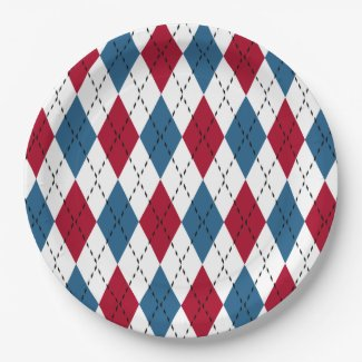 Red White & Blue Patriotic Argyle 9 Inch Paper Plate