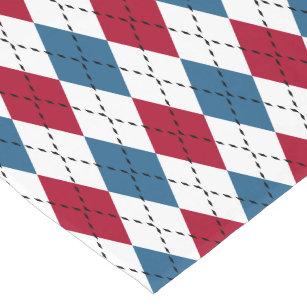 red white blue patriotic argyle short table runner