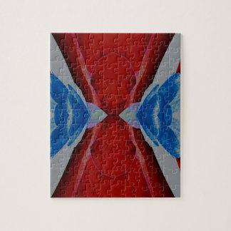 Red White Blue Patriotic Artistic Design Jigsaw Puzzle
