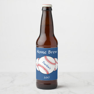 Red White Blue Patriotic Baseball Beer Label