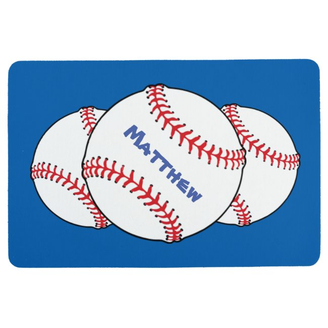 Red White Blue Patriotic Baseball Floor Mat