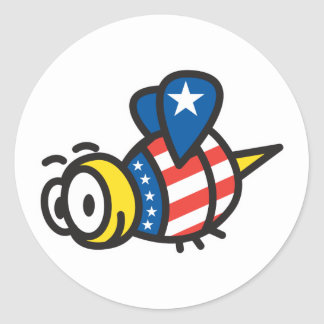 Red White Blue Patriotic Bee Classic Round Sticker