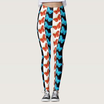 USA Themed Red White Blue Patriotic Butterfly Leggings | USA