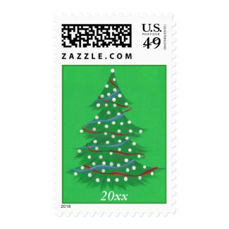 Red White Blue Patriotic Christmas Tree Year Stamp