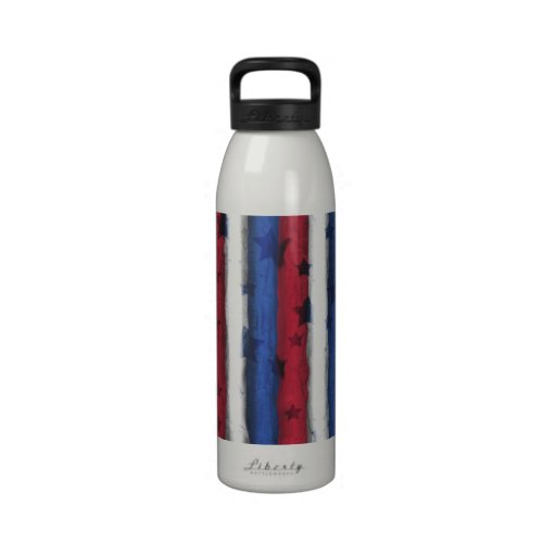Red, White & Blue Patriotic Design Water Bottle