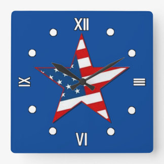 Red White & Blue Patriotic Star Wall Clock