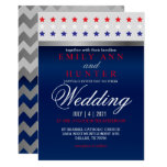 Red, White & Blue Patriotic Star Wedding Invitation