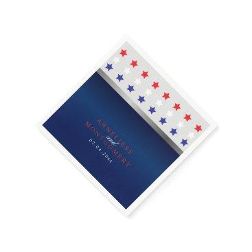 Red, White & Blue Patriotic Star Wedding Napkin