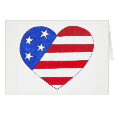 Red White Blue Patriotic Stars Stripes USA Heart Card