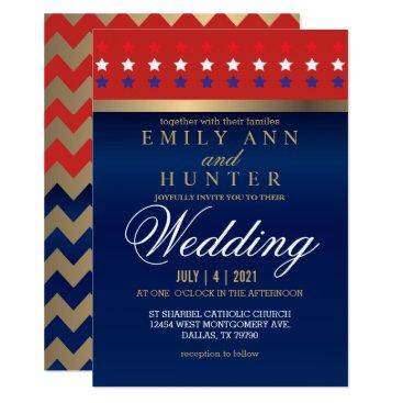 Red, White & Blue Patriotic Wedding Card