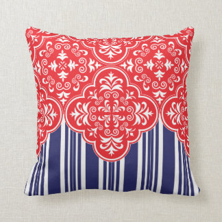 Red, White, Blue Pattern Decorative Throw Pillows