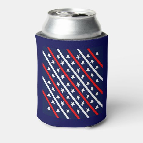 Red White & Blue Patterned Can Cooler
