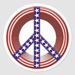 Red White & Blue Peace Sign Classic Round Sticker