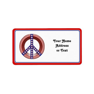 Red White & Blue Peace Sign Personalized Address Labels
