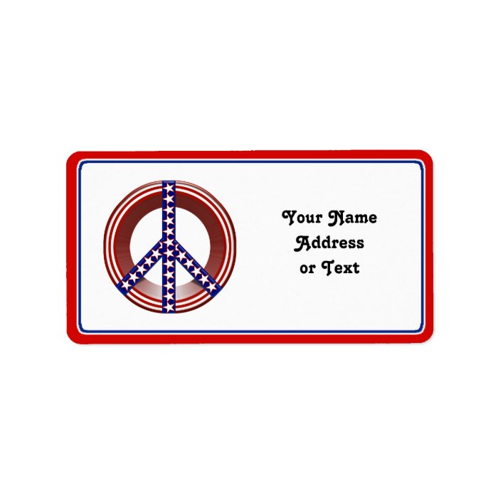 Red White & Blue Peace Sign Label