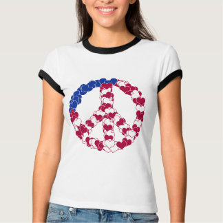 Red White & Blue Peace Sign Made with Hearts (2) T Shirts