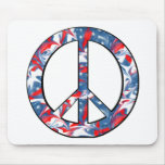 Red, White & Blue Peace Sign Mousepads