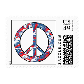 Red, White & Blue Peace Sign Postage