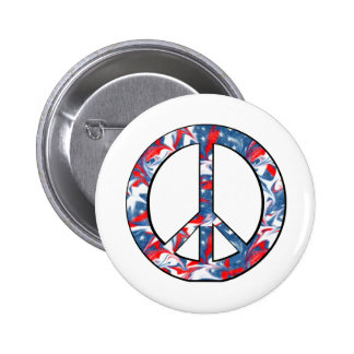 Red, White & Blue Peace Sign Round Pinback Button