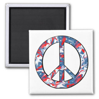 Red, White & Blue Peace Sign Square 2 Inch Square Magnet