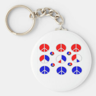 red white blue peace signs keychain